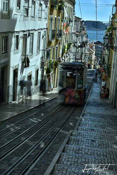 tramway à lisbonne, photos du portugal, europe