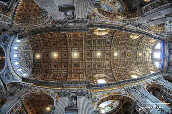 Inside the Basilica of St. Peter in the Vatican, the vaults of the central nave