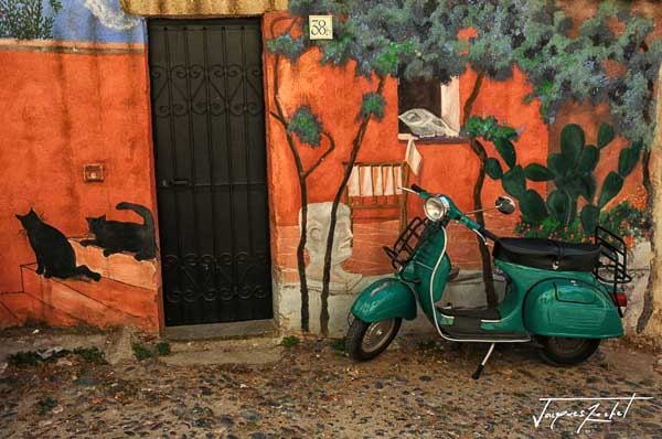 Scooter in Bosa in Sardinia